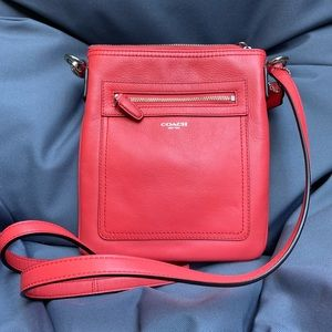 Coach Leather Crossbody bag in coral